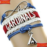 baseball wristbands - Infinity Love Cardinals baseball College Team Bracelet blue white red Customized Wristband friendship Bracelets great quality