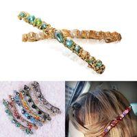 Cheap Womens Crystal Barrette Hair Clip Chic Hair Accessories Colorful Rhinestone Barrette Hairpin Headwear Hair Holder Ladies Girls MHM074