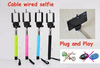 folding stick - Mini Folding Self timer Audio cable wired Selfie Stick Handheld Remote Shutter Monopod for iPhone IOS Android Galaxy note S4 US08