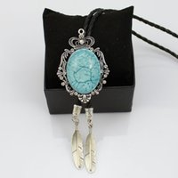 Wholesale America bolo tie blue crown fashion zinc feather pendant neck tie la Tie western cowboy style bolo tie