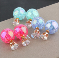 Wholesale Hot Summer Style Glass Stud Earrings Double Side Glass Ball Crack Mosaic Crystal Crown Earrings for women Cheap jewelry Charms Earrings