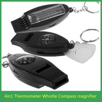 Wholesale 1pcs Black in1 Mini Survival Tool Thermometer Whistle Compass