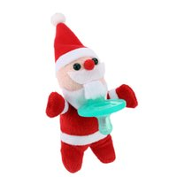Wholesale Anself Cartoon Cute Infant Christmas Santa Claus snowman Baby Silicone Pacifiers with Plush Animal Baby Nipple H15174