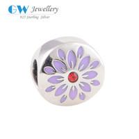 metal sunflower - Enamel charm diy bracelets sunflower charm beads pendant S925 sterling silver European brand D046NO8