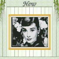 audrey hepburn paintings canvas - Audrey Hepburn beautiful girl decor paintings counted print on canvas DMC CT CT Cross Stitch Embroidery kits Needlework Sets