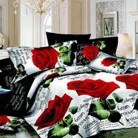 Wholesale 4pcs D Printed Bedding Set Bedclothes Red Rose in Full Bloom Queen King Size Duvet Cover Bed Sheet Pillowcases H15509