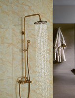 Wholesale And Retail Modern Antique Brass Shower Column Hot Cold Valve Mixer Tap Dual Handles W Hand Shower Sprayer