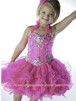short pageant dresses for girls - 2015 sparkly Halter Girl s Pageant Dresses with Beads Crystals Ruffles bodice Cupcake Organza Toddler Gowns Short Tutu Girl Dress for Kids N