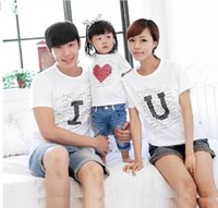 cotton clothing for children - New Popular Spring Autumn Family cotton set clothes for mother kid and father short sleeve T shirt Parent child I LOVE YOU tee