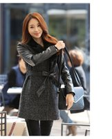 Wholesale Cheap promotional winter woolen jacket women new Korean version of the long wool coat Slim long sleeved woolen jacket stitching leather