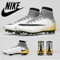 gold spikes - 2016 Nike Mercurial Superfly CR7 K Gold Soccer Shoes Soccer Boots Cleats Laser original Men shoes Soccer Shoes Football Shoes