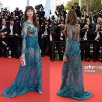 bell photo art - zuhair murad evening dresses Frederique Bell dress to Red Carpet slim beaded o neck blue long celebrity dress