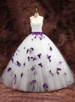 purple plus size wedding dresses - NWD7 fashionable of bride purple butterfly wedding dress church plus size custom made bridal gown dresses vestido de noiva