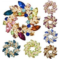 Wholesale 1 Pc Fashion Beautiful Women s Ladies Rhinestone Crystal Alloy Flower Bouquet Brooch Pin cai71