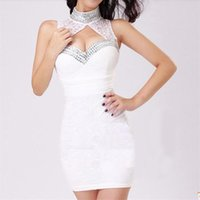 Wholesale Sexy Women s High Neck Lace Dresses Cocktail Party Bodycon Night Out Club Dresses WL