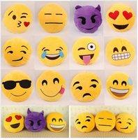 Wholesale 20 Styles cm Round Soft Emoji Smile Emoticon Yellow Cushion Pillow Stuffed Plush Toys Doll Christmas gifts Emoji Pillows
