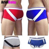 band boxers - ArielBaby New Sexy Men s Boxer Elastic Band Cotton Bulge Enhancing Penis Pouch Lift Button Up Male Underwear Red Blue Gray M L XL