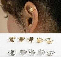 Wholesale Gold silver copper metal moon clover star heart triangle no pierced clip earrings ear cuffs for women boucle bijoux