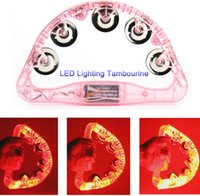Wholesale Half Moon Tambourine LED Flashing Light Up Toy Dance Bar KTV Karaoke Party Rave
