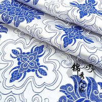 Wholesale th fabric costume Han Chinese clothing Chinese clothing cheongsam style kimono fabric rich tapestry of blue and white flowers