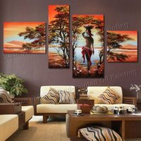 african art works - Handpainted Canvas Wall Art Modern Abstract African Landscape Oil Painting On Canvas Working Woman Living Room Painting set