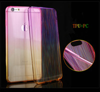 Wholesale Newest Double Color Thin TPU PC2 Coloured Drawing or Pattern Transparent Soft Shell The Rainbow Shine Cover For Iphone6s s Plus Christmas