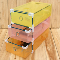 plastic drawer storage box - Drawer Design Shoe Storage Box Plastic and Clear Colorful Travel Storage Bag Box for Shoes and sundries x17x9cm