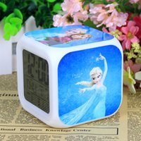 Wholesale 20pcs New LED Colors Change Digital Alarm Clock Frozen Anna and Elsa Thermometer Night Colorful Glowing Clock cm