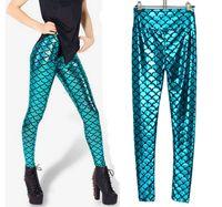 Cheap Free size NEW Fashion blue and golden Women's Black Milk fish scale PU effect high waist sexy Girl Leggings Pants