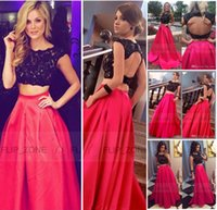 Rhinestones black and white prom dresses - 2015 Tarik Ediz Two Pieces Prom Party Dresses Black Lace and Red Satin Backless Short Sleeves vestidos de Arabic Cheap Evening Formal Gowns