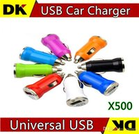 Cheap Colorful Bullet USB Car Charger Universal Adapter for iphone 5 4 4S 6 plus Cell Phone PDA MP3 MP4 player mobile i9500 s3 htc one LG 500PCS