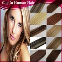 clip in hair extension sets - full head clip in on real human hair extensions inch g set