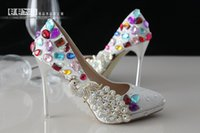 Cheap 2015 Newest Cheap Sliver Sequins Crystal Rhinestones Wedding Shoes Custom Made high Heel Bridal Shoes Event Party Prom Women Shoe