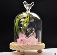 Wholesale Hot Sale New Design and High Quality Set of Micro Landscape Glass Cover Artificial Flower Swan Glass Cover Wooden Basement