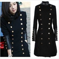 leather trench coat - Coats For Women Leather Winter Clothing Fashion Mandarin Collar Double Breasted Military Uniform Elegant Slim Wool Trench Coat WJ1452