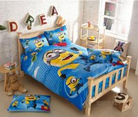 kids cartoon bedding set - 2015 cotton minion bed sets for adult children bed linen with duvet cover bed sheets kids cotton bedding single twin size