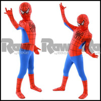 Teenage school clothes - Kids Boy Spider Man role playing clothing for Halloween Party cosplay costume cosplay set for Spiderman children school perform set RAW0060A