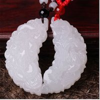 afghan necklace - Afghan natural jade pendant suet grade A crescent moon dragon on jade pendant men and women couple
