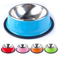 plastic dog bowl - Pet Products Colorful Stainless Steel Dog Feeding Bowl Cat Puppy Food Drink Water Dish Size XS XXL