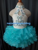 Wholesale 2015 Real Images Little Rosie Pageant Dresses High Neck Beaded Crystal Glitz Toddler Birthday Party Gowns Baby Cupcake Organza Kids Short