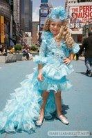 Wholesale 2015 Toddler Girls Princess Pageant Dresses Hi Lo Blue Long Sleeve Flower Girl Dresses For Wedding Vestidos de Daminha