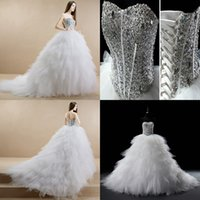 Wholesale 2015 Luxury crystals wedding dress feather dress sexy wedding dress A line sweetheart lace up sleeveless hi lo tiers ruched wedding dress G6