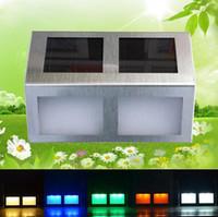 Cheap New Waterproof 4 LED Solar Street Lights Solar Powered Stainless Steel Outdoor Stair Garden Sensor Lights Lightings