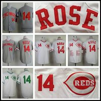 authentic black rose jersey - 30 Teams New Pete Rose Jersey Cheap Cincinnati Reds Throwback Baseball Jersey Authentic Stitched Gray White