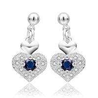 Top fashion quanlity 925 sterling silver mignon coeur amour mariage bleu Swarovski Elements bijoux boucles d'oreilles en cristal autrichien E566