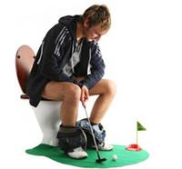 Wholesale 1set creative COOL Toilet Bathroom Mini Golf Mat Set_ Game Potty Putter HOT SALE men boy toy