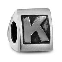 alphabet heart beads - 100 Sterling Silver Beads Fit Pandora Charms Bracelet DIY Brand Fashion Jewelry Scroll Alphabet K