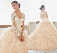 arab sexy - 2016 Lace Long Sleeves Luxurious Arab Wedding Dresses V neck Beaded Tiers Tulle Wedding Gowns Stunning Bridal Dresses A26