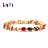 american sports store - Teemi Jewelry Stores Fashion Colorful AAA Water Drop Shape Cubic Zircon Rose Champagne Gold Plated Charm Bracelet Bangle for Women