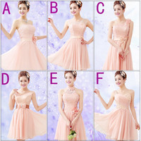 Wholesale Pink Fashion Short Lace Chiffon Bridesmaid Dress Strapless Party Dress Gowns A F style Mixed Order
